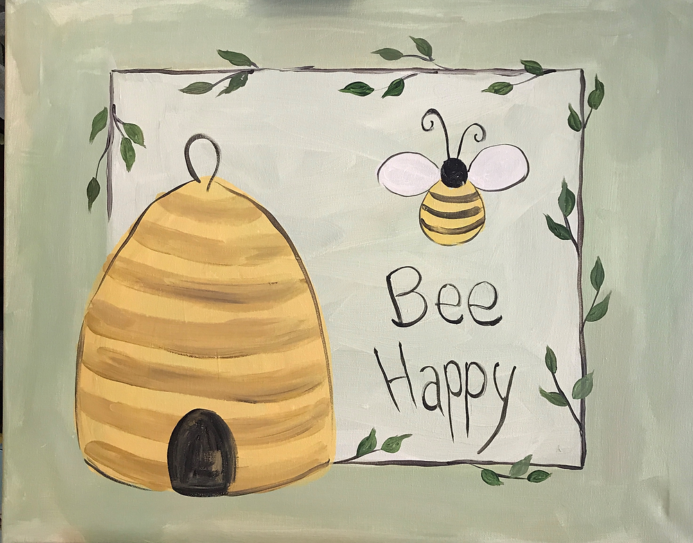 """Appalachian Arts Center will host a 'Paint and Sip' event on Tuesday, February 6th, from 6-8pm, as part of the Richlands Winter Honey Festival. Come on out and make this sweet """"Bee Happy"""" painting, and enjoy a glass of wine while creating it! The event, suitable for beginners ( and open to anyone who just wants to work a brush and have fun with some paint) will be led by Virginia Warner. All materials (brushes, paint, canvas, easel) will be provided, but it is suggested that participants bring a smock or old shirt to protect clothing. Snacks and wine will also be provided. The cost is $40 per person, and space is limited to 20 participants, so be sure to register asap. Places may be reserved with a credit card by calling the Arts Center at 276-596-9188, or by stopping in to the Center during normal business hours: Tuesday-Friday: 12-6pm; and Saturday: 10am-6pm."""