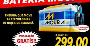 Bateria Moura a partir de R$ 299,00 reais! Venha conferir..