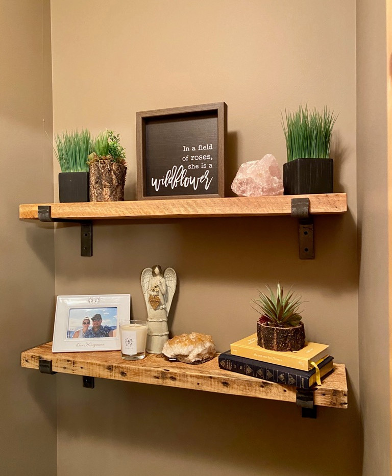 Reclaimed fir - supported shelf - natura