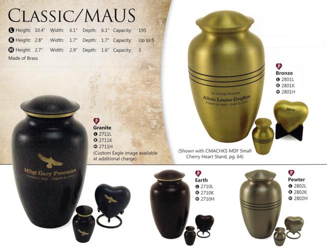 Large Urn-$195     Heart-$95     Keepsake Urn-$50