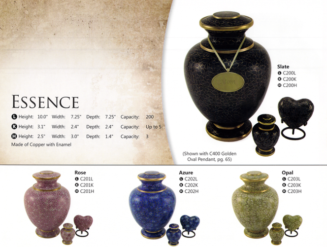 Urn-$395     Heart-$125     Keepsake Urn-$100