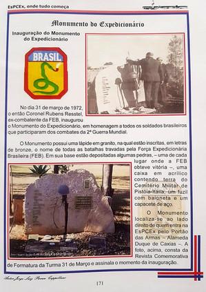 Publicação da EsPCEx sobre o monumento
