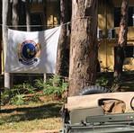 Bandeira da AExpCamp na exposição no Clube Círculo Militar, em Campinas