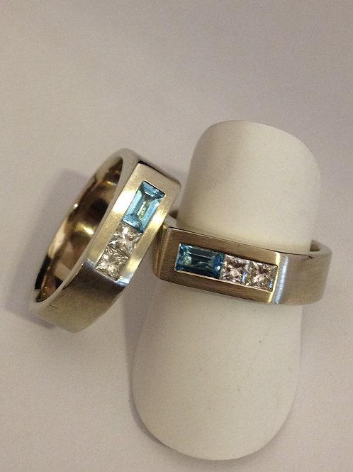 Wit gouden trouwringen met diamantjes