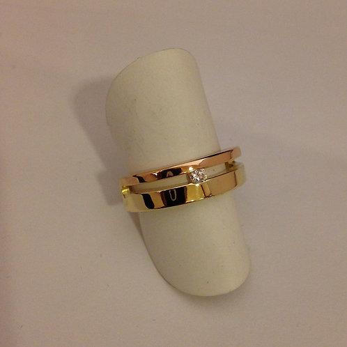 Rose en geel gouden ring met diamant