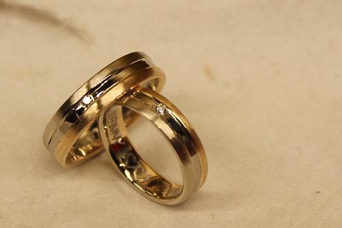 Wit geel gouden ringen met diamantjes