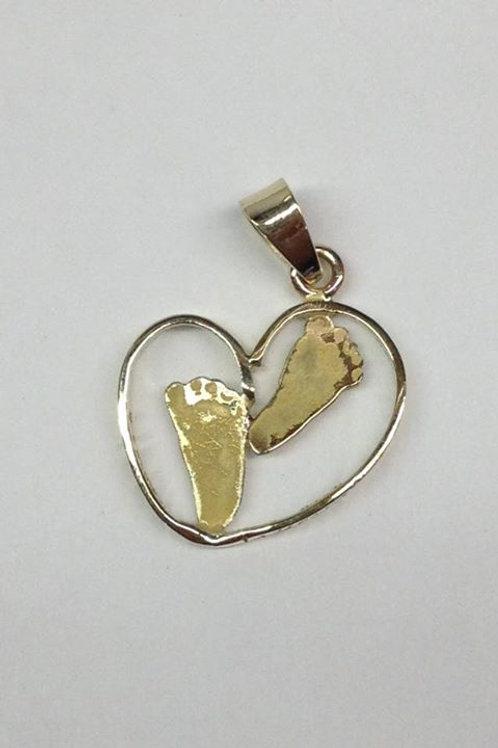 Gouden hanger met voetafdruk