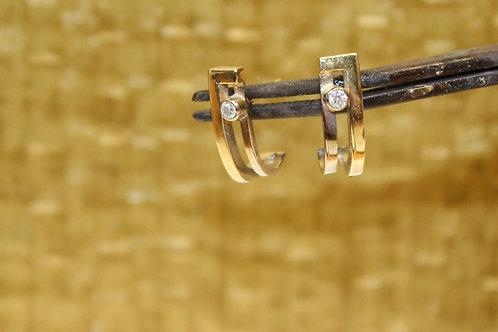 Bicolor oorbellen met diamantjes
