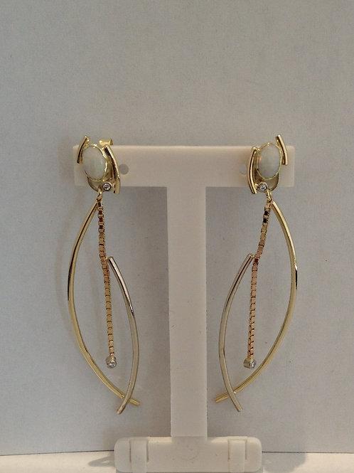 Geel en wit gouden hang oorbellen met diamantjes