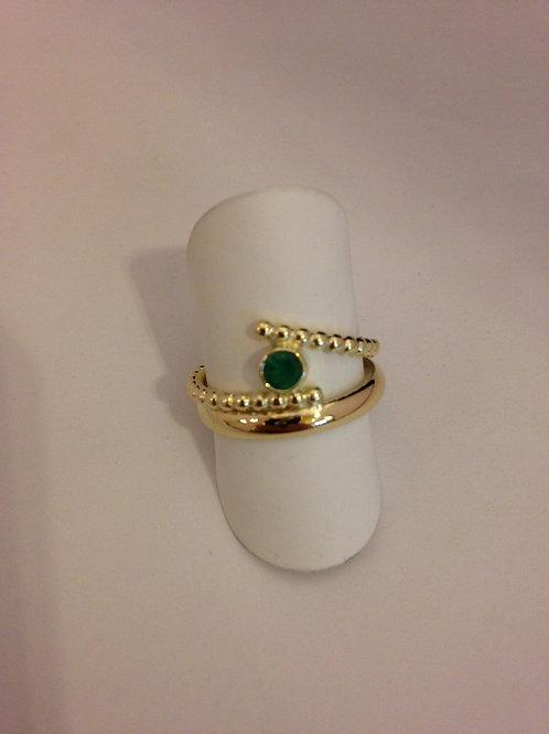 Geel gouden ring met smaragd