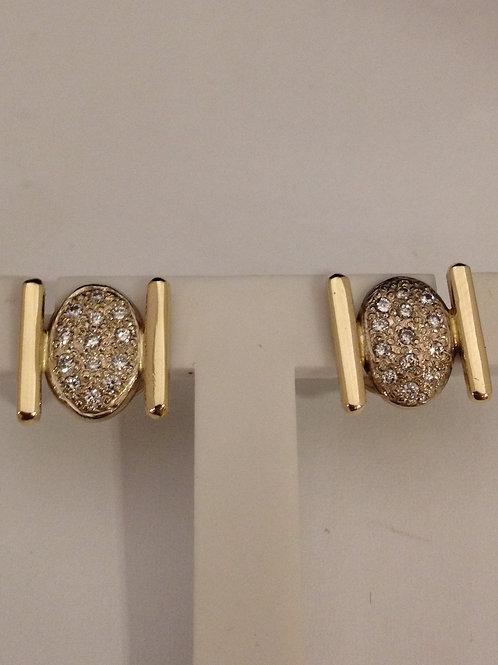 Geel en wit gouden oorknoppen met diamantjes