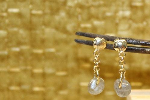 Geel gouden oorbellen met labradoriet