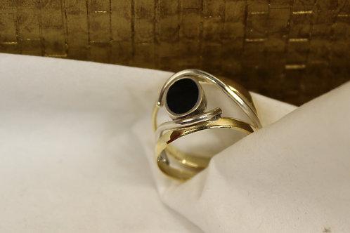Geel gouden ring met Onix