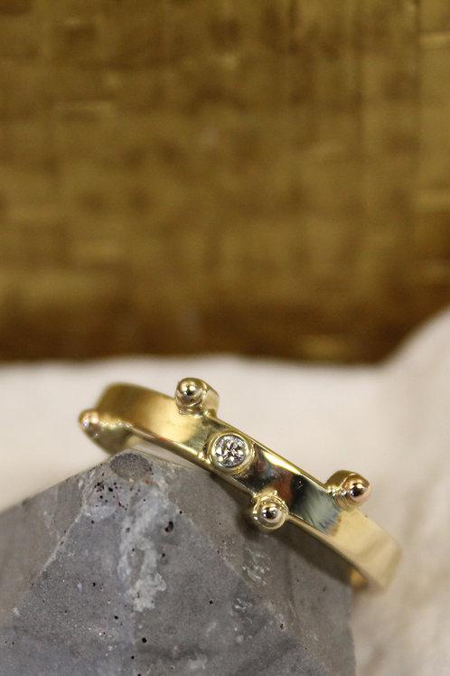 Geel goud met wit gouden ring en diamantjes