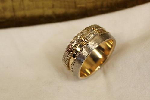 Rose en wit gouden ring met geslepen diamant
