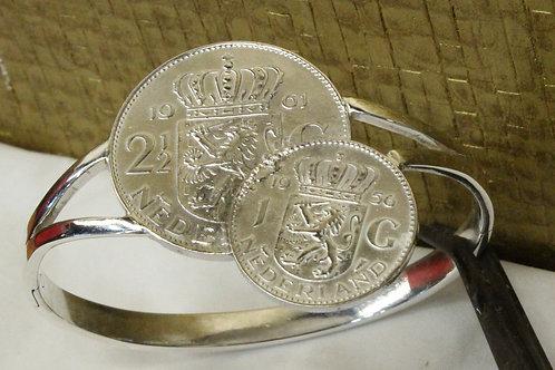 Zilveren armband met oude Gulden munten