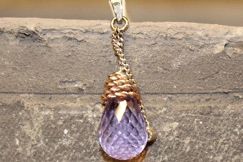 Bicolor hanger met amathist en diamant