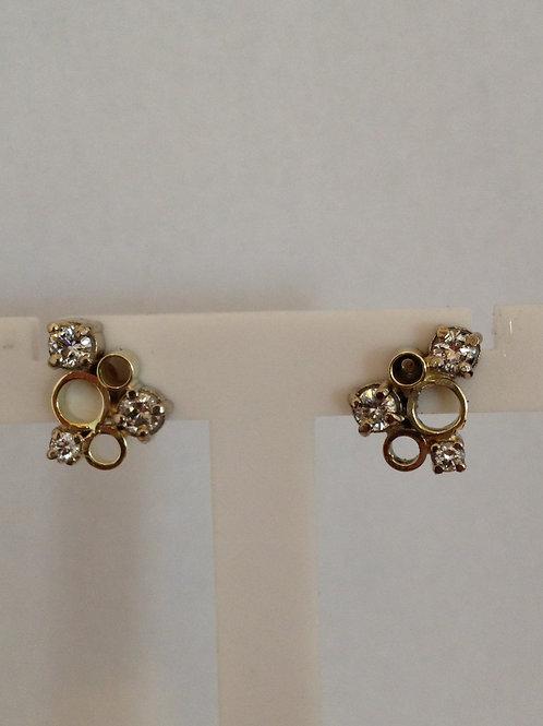 Geel gouden knopjes met diamantjes