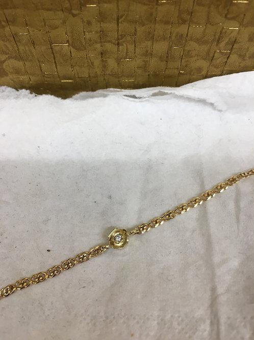 Gouden collier met roosje