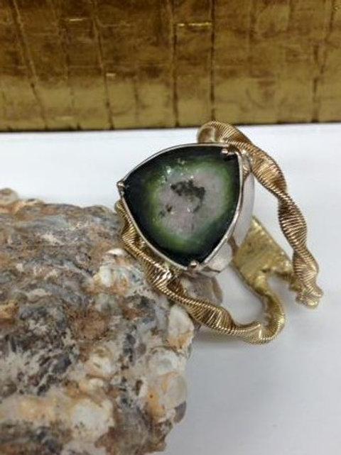 Ring van oud goud met watermeloen toermalijn