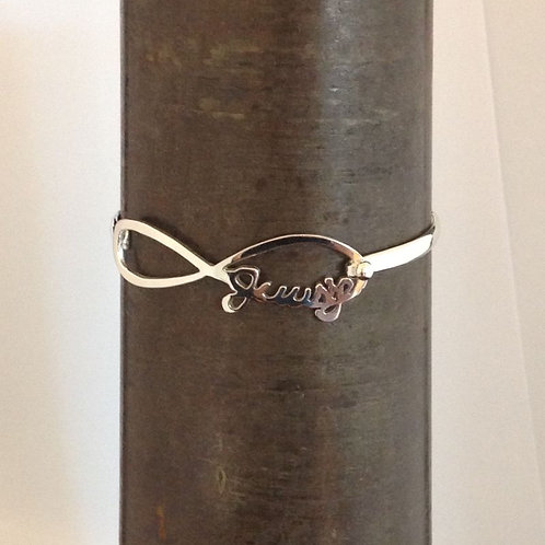 Zilveren spang armband met naam