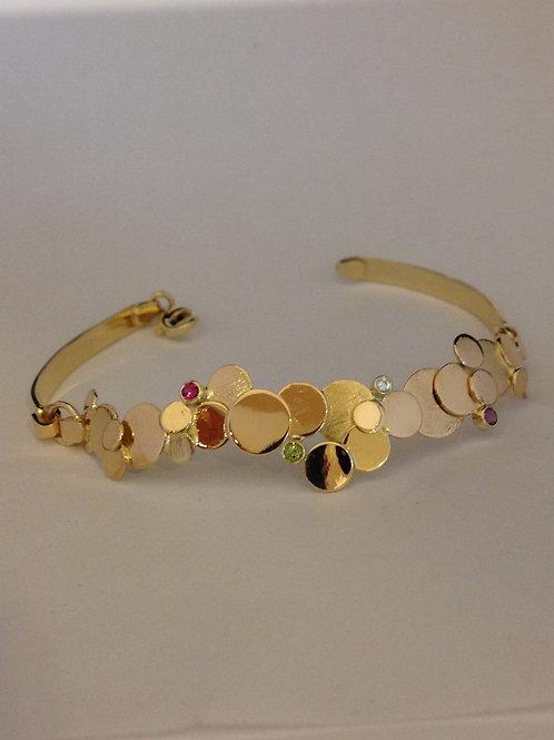 Gouden armband met citroen, amathist en peridoot