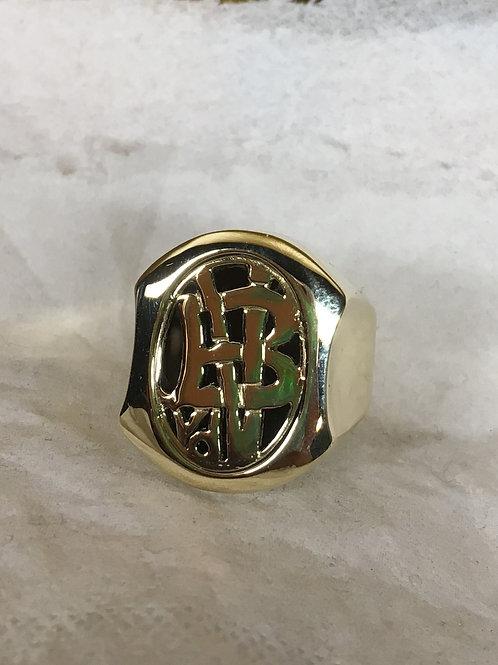 Geel gouden ring met onix en initialen