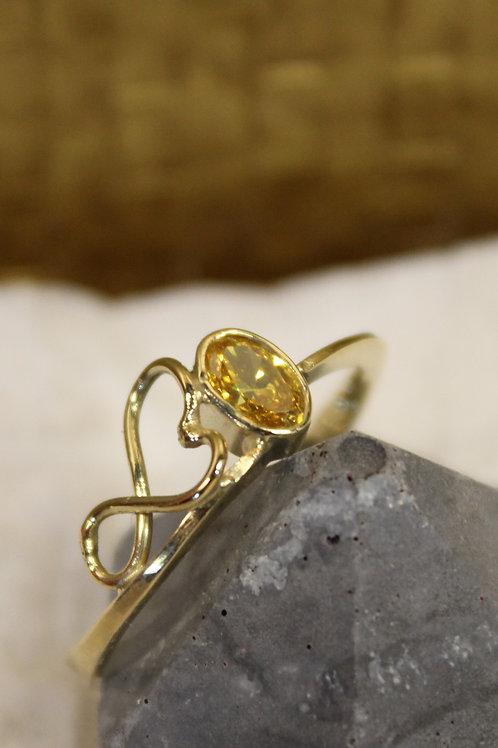 Geel gouden ring met gele zirconia