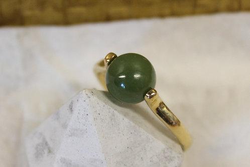 Geel gouden ring met jade steen