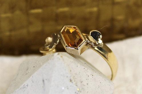 Geel gouden/wit gouden ring met citrien