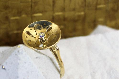 Geel gouden ring met maansteen