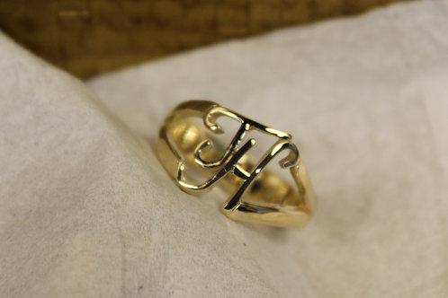 Geel gouden ring met initialen