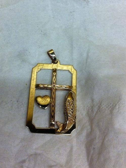 Gouden hanger met losse elementen verwerkt