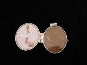 Zilveren medallion met hondenhaar verwerkt