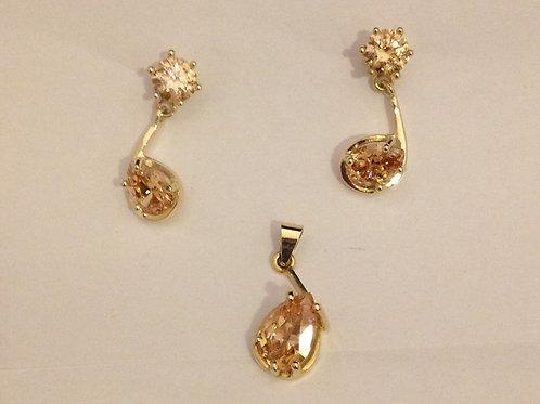 Geel gouden set met champagne zirconia