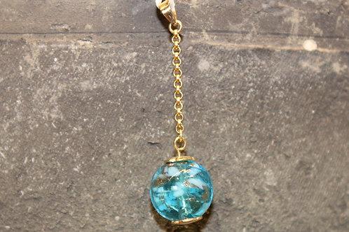 Geel gouden hanger met murano glas