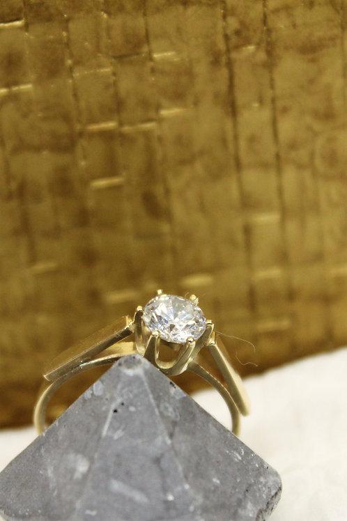 Geel gouden ring met zirconia
