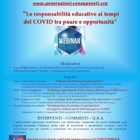 Le responsabilità educative ai tempi del COVID tra paure e opportunità