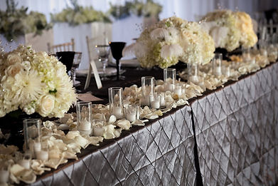 Silver pin tuck, platinum linens, chair covers, centerpieces, linens, overlays, sashes, linen rental