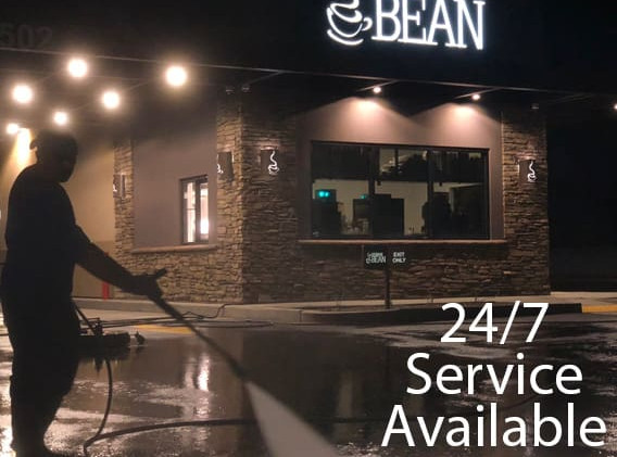 Power washing 24 hour service at a coffee shop