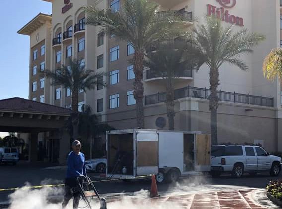 Hilton power washing pavers