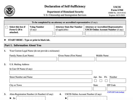 Adios Form I-944, Declaration of Self-Sufficiency