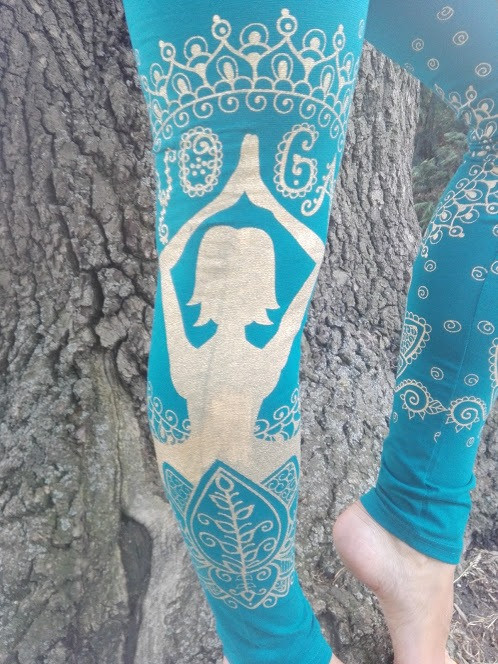 LEGGINGS with _GOLDEN YOGINI_ print Fabr