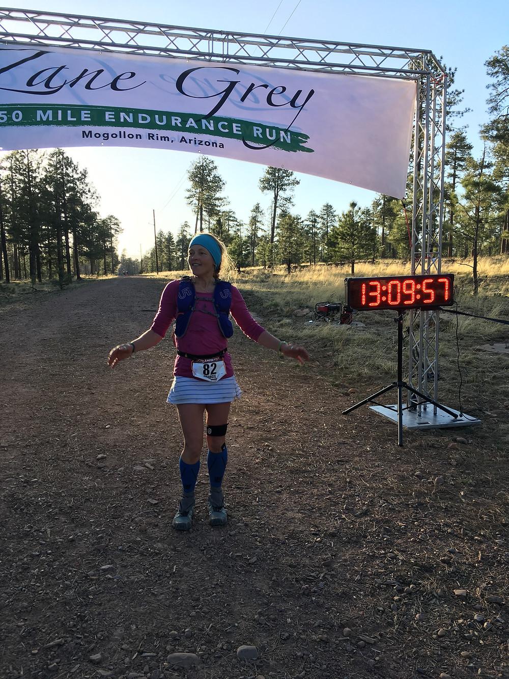 Finish line Zane Grey 50 miler, Tonga National Park, Arizona.