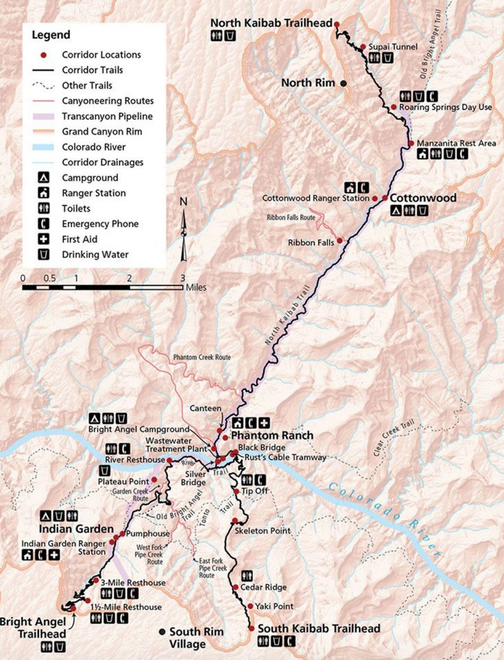 Map of the Canyon. R2R2R. November 6th 2019.