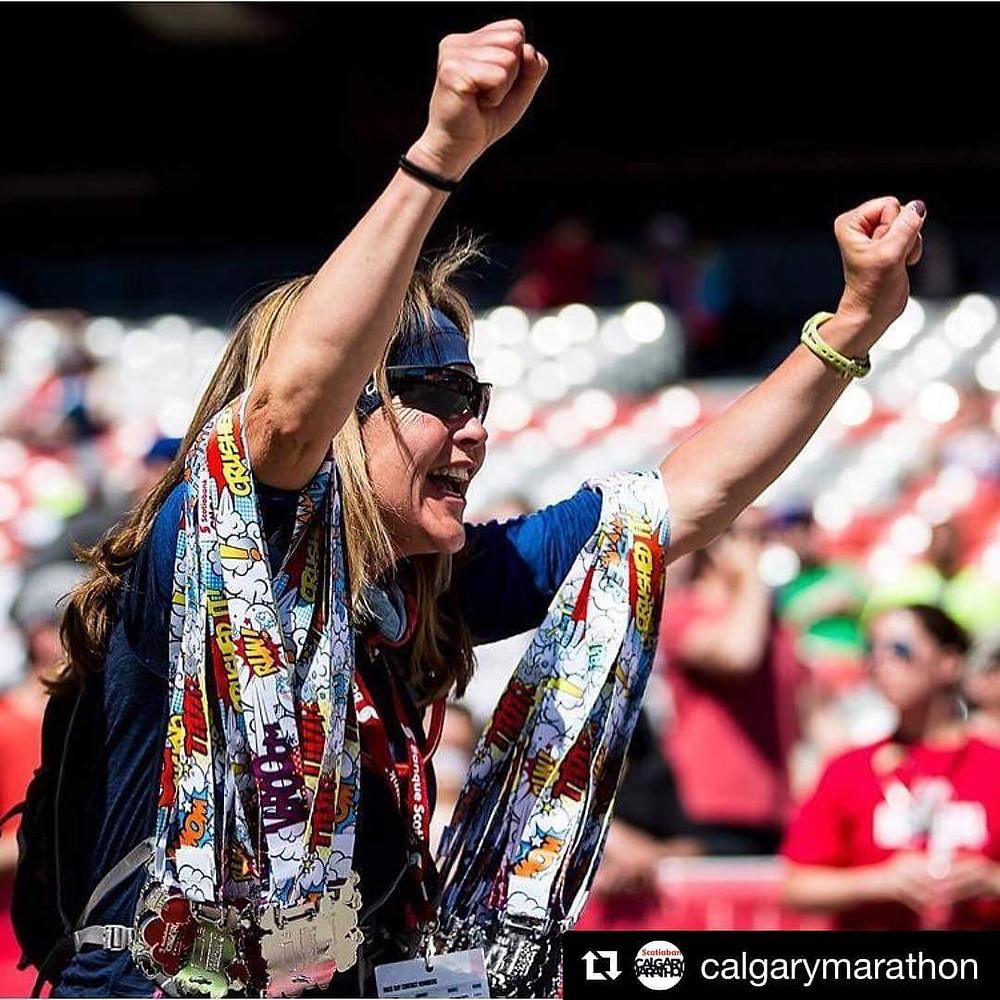 Calgary Marathon finish line.
