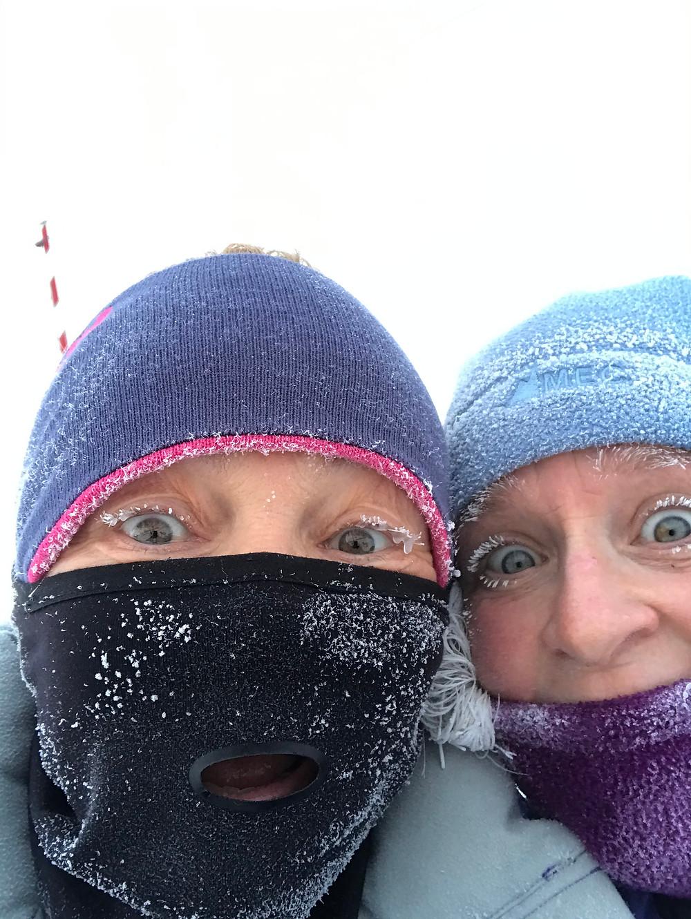 Cold morning run, Georgie Islip with Sonja