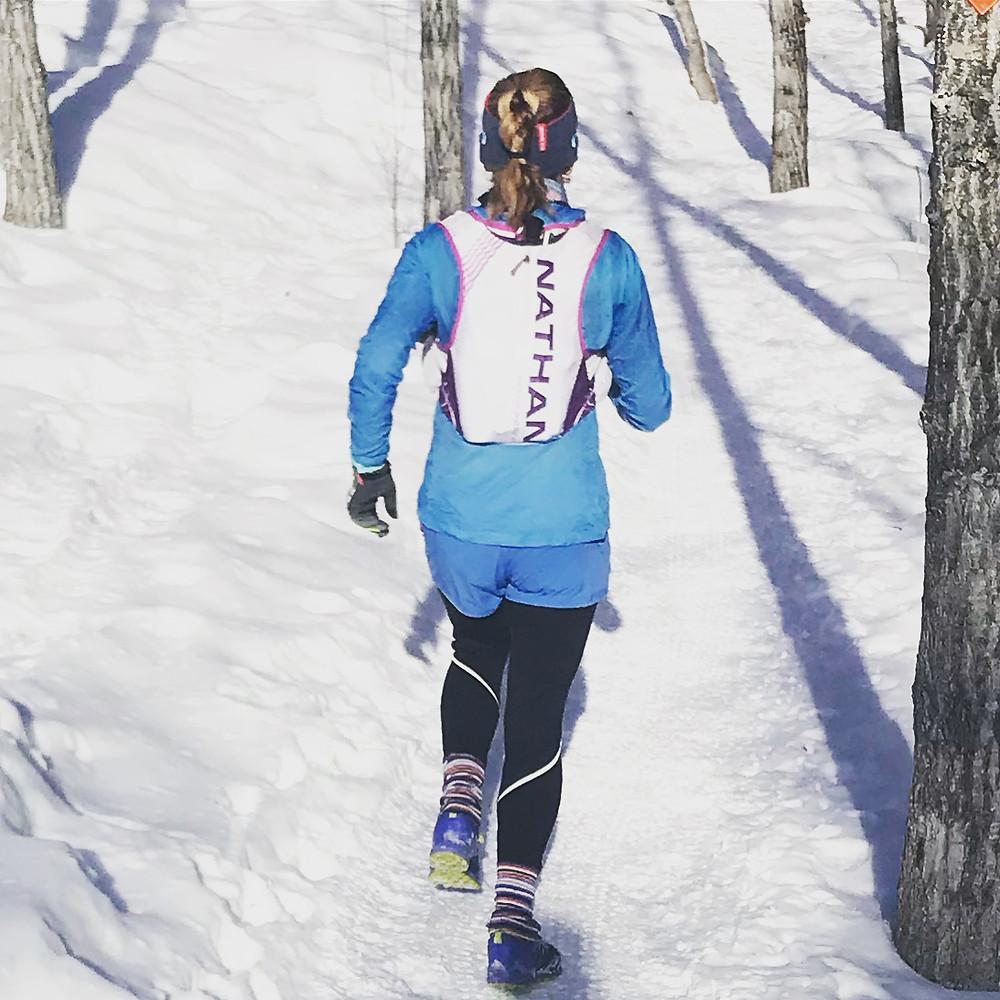 Georgie Islip, run coach on trails in the winter