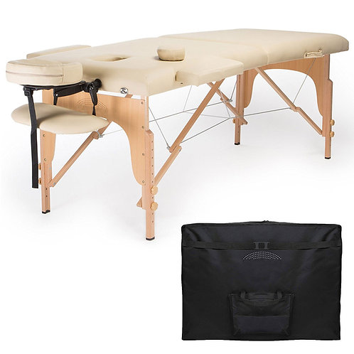Huini Professional Portable Folding Massage Table with Carrying Case - Cream