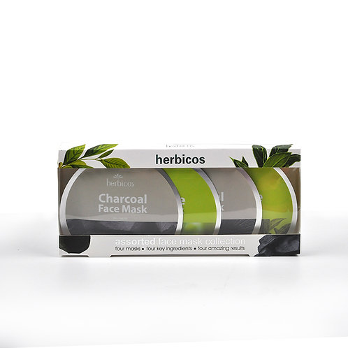 Herbicos Charcoal & Tea tree face masks (4pcs/4x25g/4x0.85oz)